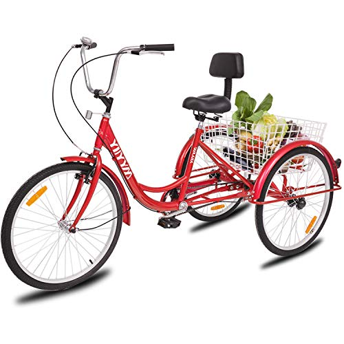 YiiYYaa Adult Tricycle Trike Cruise Bike, 24 Inch Wheel Single Speed 3 Wheeled Bicycle with Large Size Basket for Recreation, Shopping, Exercise (Red)