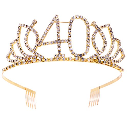 Frcolor 40th Birthday Tiara Crystal Rhinestone Women 40th Birthday Crown with Combs (Gold)