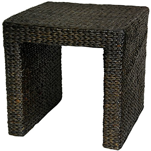 Oriental Furniture Rush Grass End Table - Black