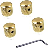 Pack of 4pcs Brass Knob Volume Tone Control Knobs for Electric Guitar Bass Screw Type