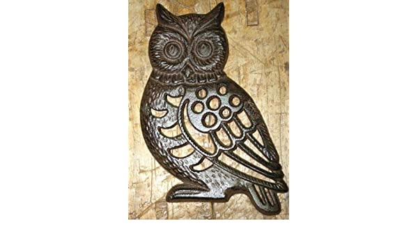 HUGE Cast Iron Antique Style OWL Stepping Stone Garden Step Pond Pool Hoot Owl