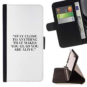 Momo Phone Case / Flip Funda de Cuero Case Cover - Hobby cita de motivación inspiradora Blanca - LG G4c Curve H522Y (G4 MINI), NOT FOR LG G4