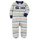 Carter's Baby Boys' Baby Boys Striped Zip Up Little Brother Cotton Sleep and Play Newborn Gray