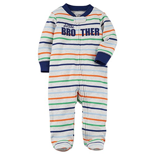 f26a1aec7 Galleon - Carter's Baby Boys' Baby Boys Striped Zip Up Little Brother  Cotton Sleep And Play 9 Months