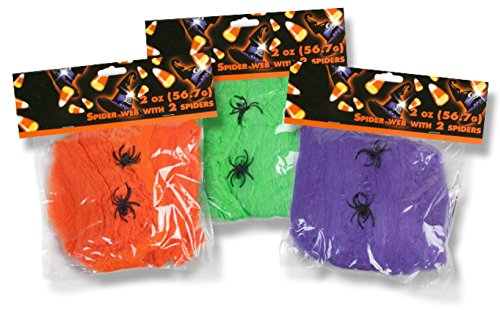 Family Holiday Halloween Neon Webs, Neon Webbing,Neon Cobwebs & Neon Spiderweb with Spiders Decorations (Pack of 3) -