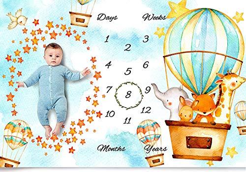 Baby Monthly Milestone Blanket Boy & Girl - Animal Fleece Watch Me Grow Photography Backdrop Posing Props for Newborns - New Moms Baby Shower Gift Set - 100% Wrinkle-Free - Bonus Wreath + Bib