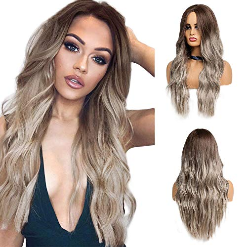 Long Wavy Ombre Brown Blonde Synthetic Wigs for Women Heat Resistant Fiber Middle Part Cosplay Wigs Natural Look Realistic Wig