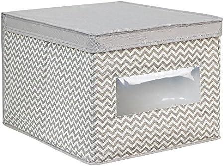 InterDesign Axis Cajas organizadoras con Tapa para Ropa o Zapatos, Cajas de almacenaje Grandes de Polipropileno con Ventana, Gris Topo y Crudo: Amazon.es: Hogar