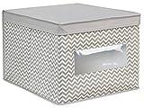 InterDesign Caja organizadora para armario o tocador, tela con líneas Chevron, para zapatos, bolsos, jeans - grande, color Gris pardo/natural