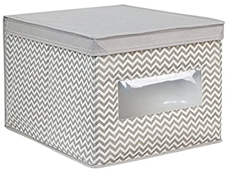690854b9e InterDesign Axis Toy or Clothing Fabric Storage Box with Clear Window and Chevron  Pattern, Made
