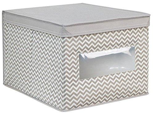 InterDesign Chevron Fabric Closet Organizer Box – Soft Storage Bin for Clothing, Shoes, Handbags, Linen - Large, Taupe/Natural