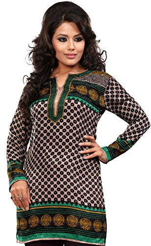 Indian Kurti Top (Tunic) Printed Womens Blouse India Clothes (Green, L)