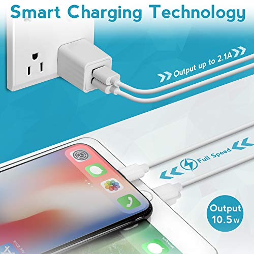 USB Wall Charger with 3 ft iOS Charging Cable,2.1A Dual Port Phone Fast Charger Adapter Plug Cube Compatible with iPhone 11//11 Pro//11 Pro Max//XS Max//XS//XR//X//8//8 Plus//7//7 Plus//6 and More 4 Pack