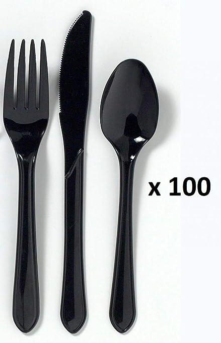 Premium Black cuchillo, cuchara y tenedor de plástico tamaño ...