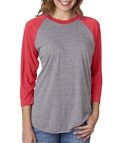 Next Level Unisex 3/4-Sleeve Raglan T-Shirt, Vintage Red/Premium Hthr, Large