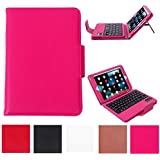 HDE iPad Mini Case Leather Folding Folio Cover Stand with Keyboard for Apple iPad Mini / Mini 2 / Mini 3 / Retina (Pink)