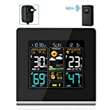 AEVOBAS Wireless Weather Station with Indoor Outdoor Sensor, Digital Alarm Clocks, HD Temperature Humidity Gauge, Forecast Weather Station, USB Charging Socket for Mobile Devices