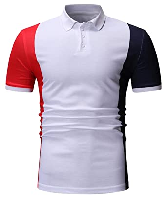 119914e40b Suncolor8 Mens Contrast Short Sleeve Slim Business Casual Golf Polo Shirt  at Amazon Men s Clothing store