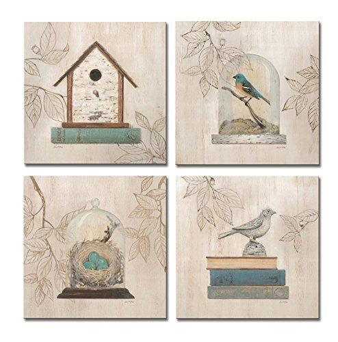 SpecialArt - HIGH-END FRAME Paintings Wall Art - Bird House Glass Cover Nest Eggs Books painting - 4 Panels Picture Print on Canvas for Modern Home Decor