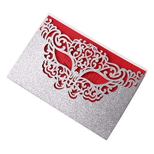 PONATIA 25 Pieces/Lot Mask Party Invitations Cards for Makeup Party Masquerade Party Decorations, and Halloween Dance Party (Slivery Glitter + Red Insert) -