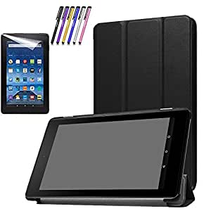 Mignova Slim Shell Case for All-New Fire 7 2017 - Ultra Slim Lightweight Standing Cover Case for Fire 7 Tablet (7th Generation - 2017 release)+ Screen Protector Film and Stylus Pen (Black)