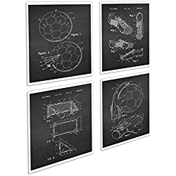 Soccer Decor / Football Decor Set of 4 Unframed Black Chalkboard Art Prints