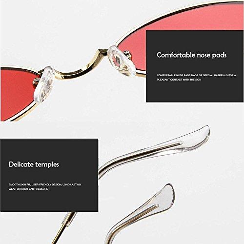 Gold Metal Ojo pequeñas para Sol Caramelos de Hombres Mujeres Gato Lens de Grey ovaladas de de ovaladas Metal Retro Gafas Gafas Sol Colores Marco Fram Delgado de Metal Grey Lens Fram Black de FOONEE UzIqSwax