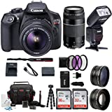 Canon EOS Rebel T6 Digital Camera :18 Megapixel 1080p HD Video DSLR Bundle with 18-55mm &75-300mm Lenses Wide Angle & Telephoto Lens 32GB &16GB SD Card Tripod Filter Kit & Flash