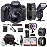 Canon EOS Rebel T6 Digital Camera: 18 Megapixel 1080p HD Video DSLR Bundle With Wide Angle & Telephoto Lens 32GB &16GB SD Card Tripod Filter Kit & Flash - Professional Vlogging Sports & Action Cameras