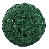 Natural green jade Hand carved Dragon Spit beads Necklace pendant