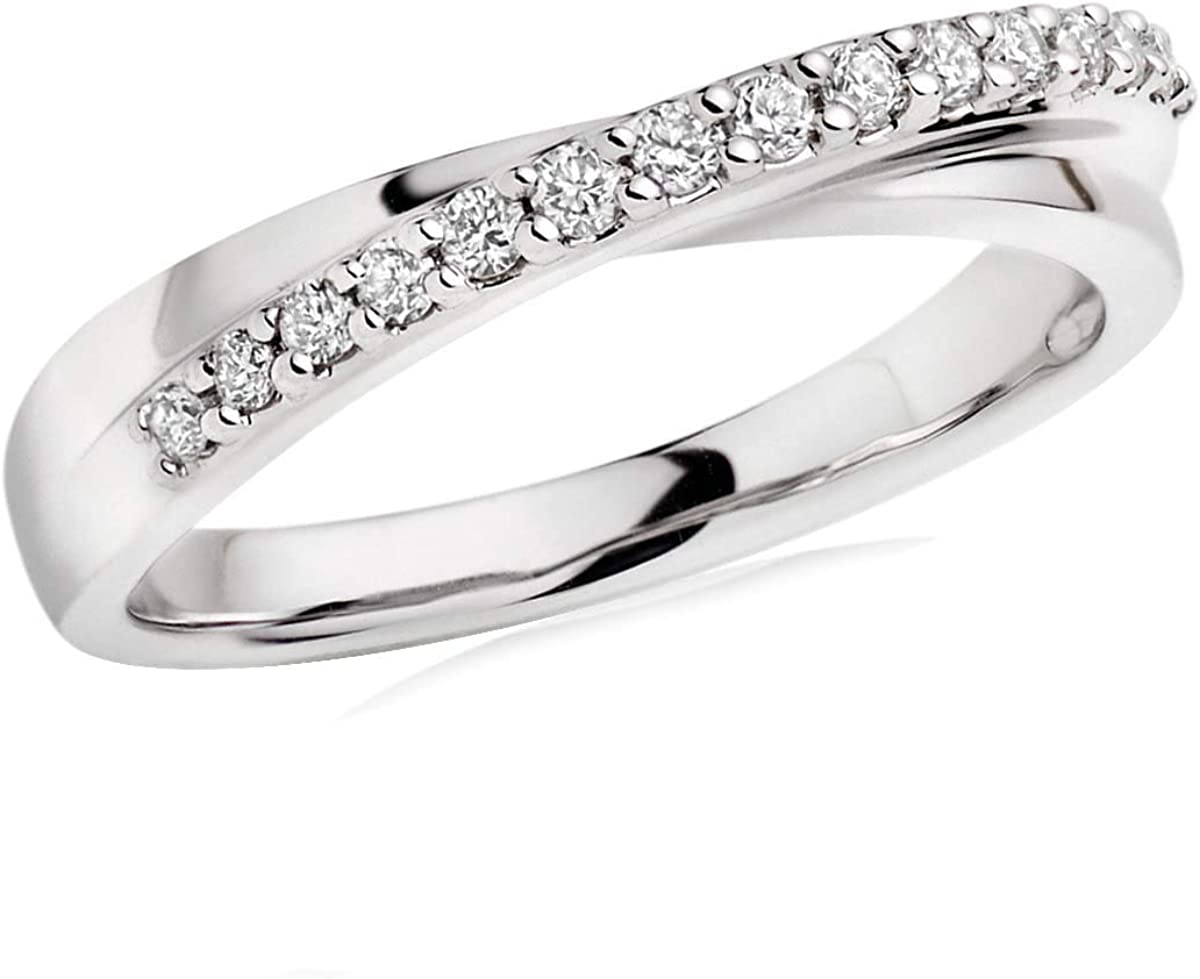 0.50 Ct Round Cut Simulated Diamond Twist Wedding Band Ring In 10K White Real Gold