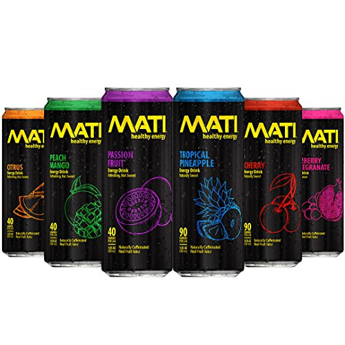 MATI Natural Healthy Energy Drink 12-Ounce (Variety (All Flavors One Can of Each), 6 Pack Trial)