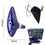 earsTravel 12 Hole Ocarina Ceramic Alto C Musical Instrument Legend of Zelda with Carry Bag