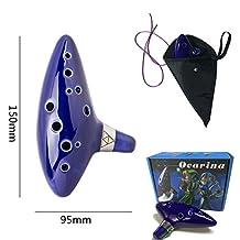 earsTravel 12 Hole Ocarina Ceramic Alto C Musical Instrument Legend of Zelda with Carry Bag