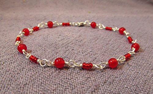 Red Jade 8-inch bracelet