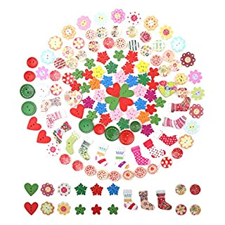 DIYASY 200Pcs Christmas Buttons,Wood Sewing Button with 2 Holes for DIY Craft and Decoration.