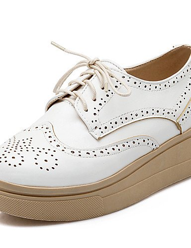 us8 White semicuero Brown 7 Beige Zapatos punta Njx Comfort Eu37 us6 Bermellón Redonda Mujer marrón plataforma Blanco 5 Uk4 oxfords Hug vestido Uk6 Cn39 5 De Casual 5 Cn37 Eu39 Taawq51P