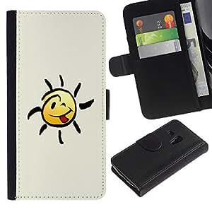 UNIQCASE - Samsung Galaxy S3 MINI NOT REGULAR! I8190 I8190N - Happy Smiley Tongue - Cuero PU Delgado caso cubierta Shell Armor Funda Case Cover