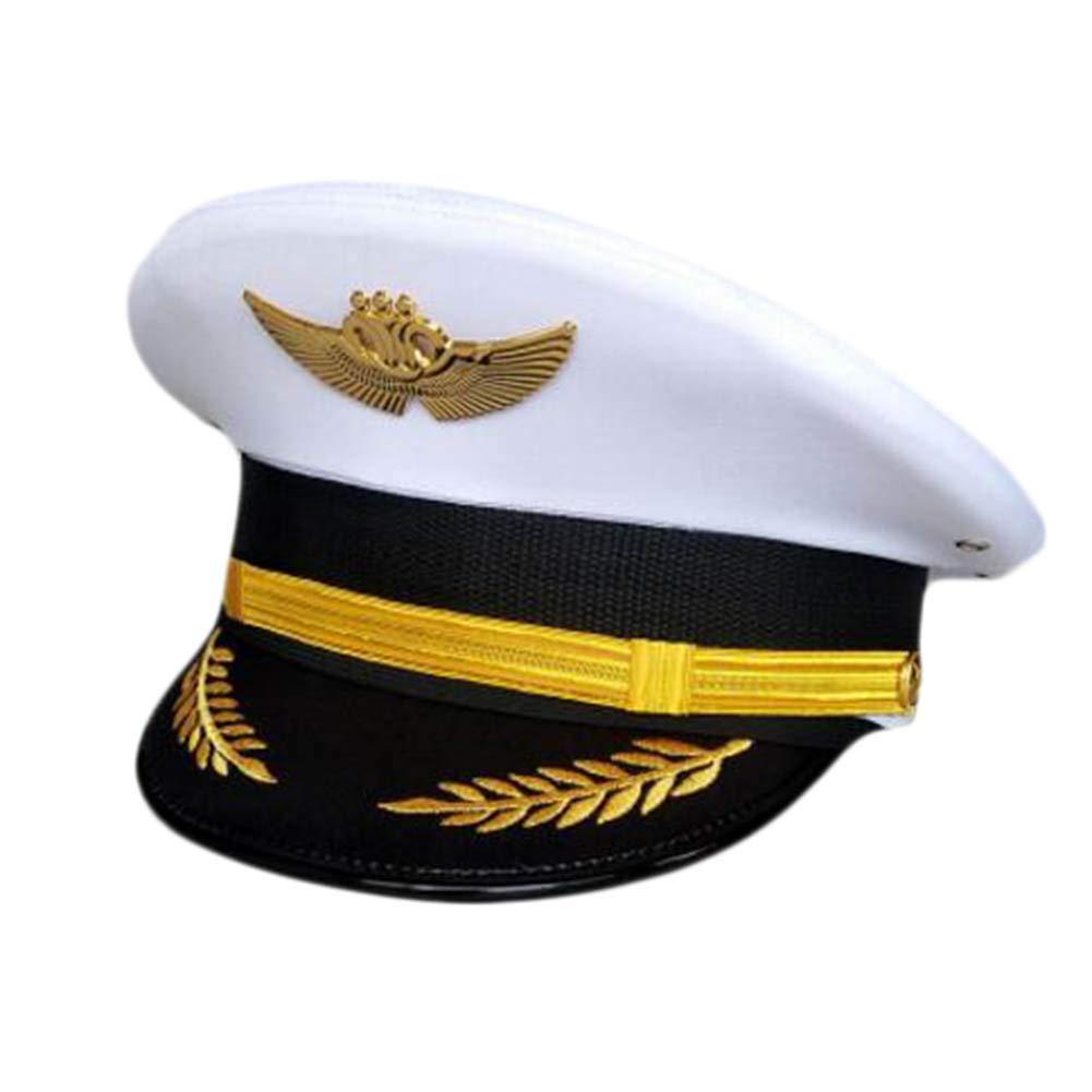 George Jimmy Aircraft Captain Cap Uniform Aviation Cap Railway Hat Costume Accessory-A09