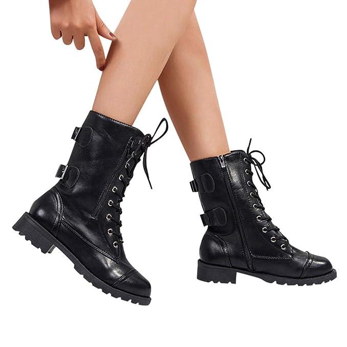 JiaMeng Botas Mujer Ante Botas de Invierno Media Pierna Zapatos Botas de equitación Romanas Botas de