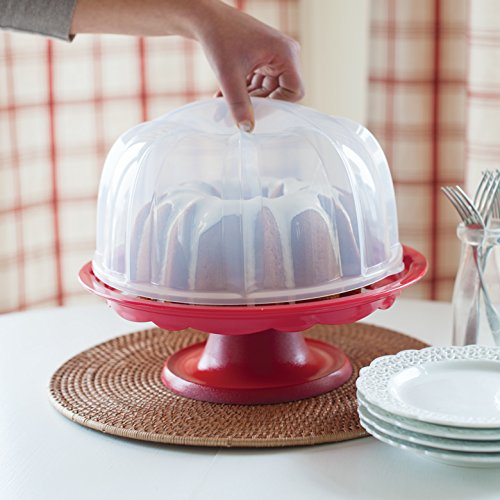 Nordic Ware 1804 Bundt Cake Stand with Locking Dome Lid, Clear
