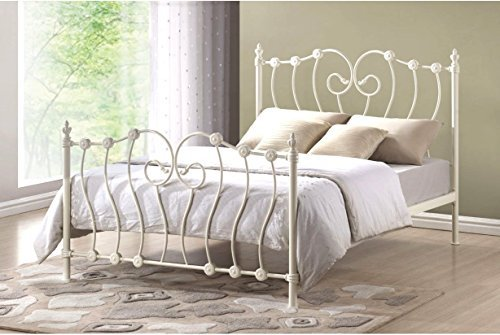 Victorian French 5ft King Size Ivory White Metal Bed Frame: Amazon ...