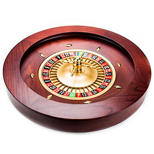 Brybelly Casino Grade Deluxe Wooden Roulette Wheel, Red/Brown Mahogany, 18