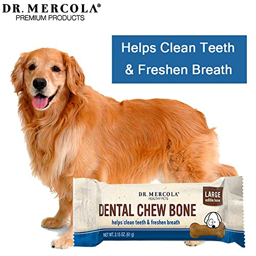 Image of Dr. Mercola Dental Chew Bones - 12 Pack - Large Dogs 25 lbs and Up - Helps Clean Teeth and Freshen Breath - A Completely Digestible Tasty Oral Care Treat for Dogs