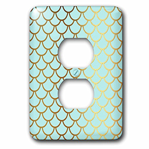 3dRose lsp_266919_6 Sparkling Blue Luxury Elegant Mermaid Scales Glitter Effect Art Print Plug Outlet Cover, Multicolor by 3dRose