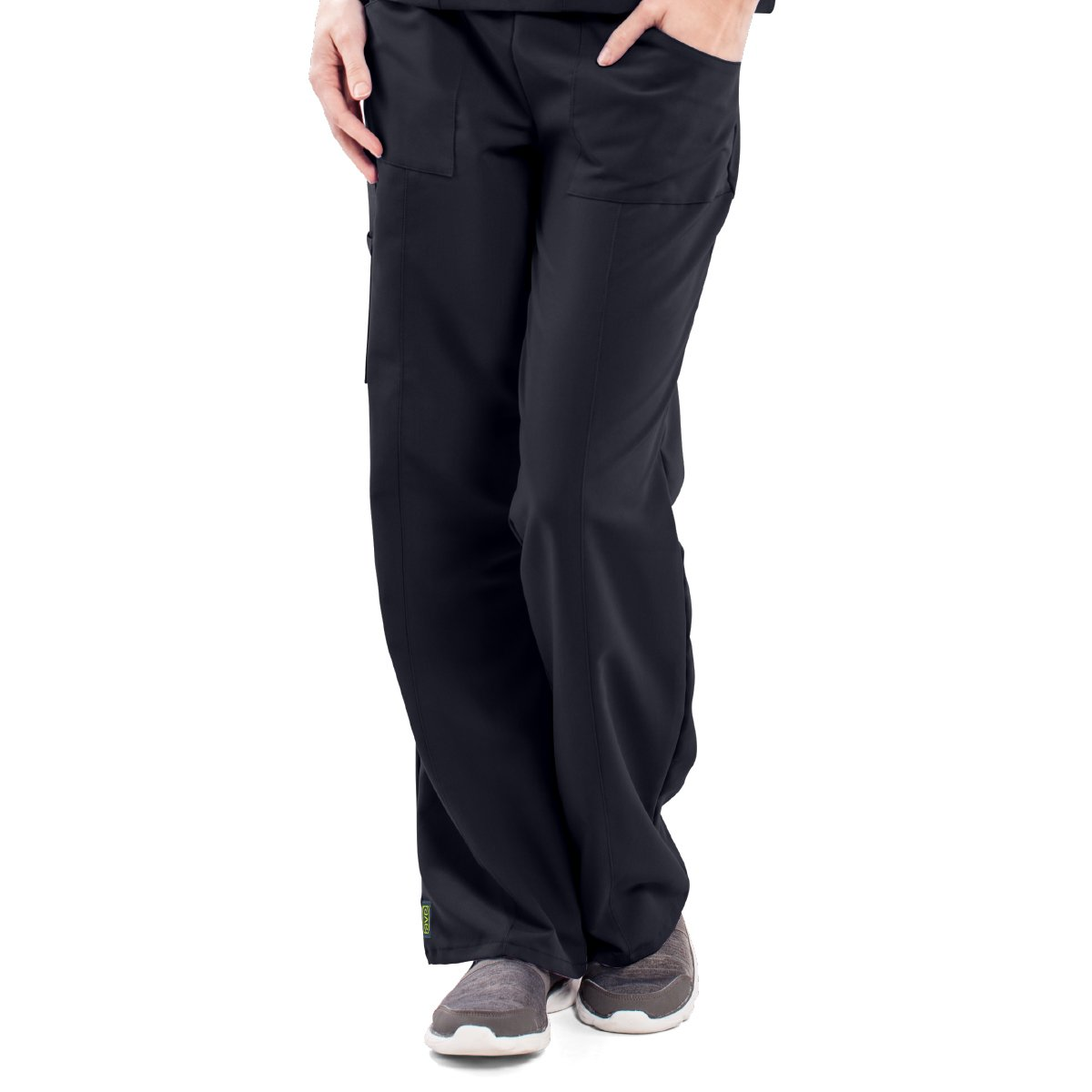 ave Women's Medical Scrub Pants, Pacific ave, Slimming Straight Leg Style Scrub Pant, Cargo Pockets, Great for Nurses, Black, 2X-Large Tall