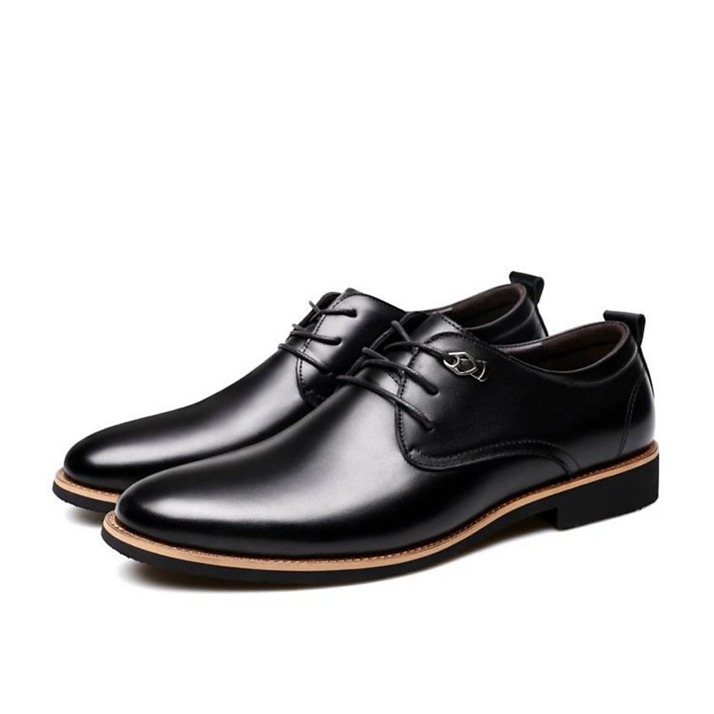 2018 Men's Classic Leather Oxfords Casual Lace Up Design Formal Business Wedding Dress Shoes Male Flats Footwear (8, Formal Black)