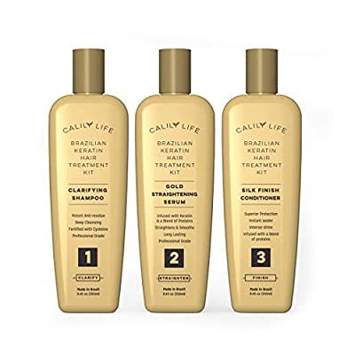 Calily Life Brazilian Keratin Hair Treatment Kit – Includes Gold Straightening Serum, Clarifying Shampoo and Protecting Conditioner - Enjoy Professional & Long Lasting Hair Straightening Results