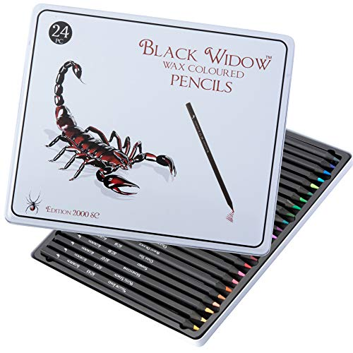 Colored Pencils for Adults - Adult Coloring Pencils Set for All Coloring Books - a Unique 24 Piece Blackwood Color Pencil Set - From Black Widow Pencils