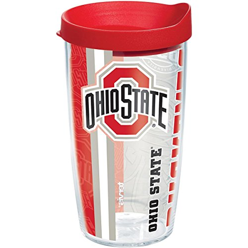 Tervis 1215460 Ohio State Buckeyes College Pride Tumbler with Wrap and Red Lid 16oz, Clear